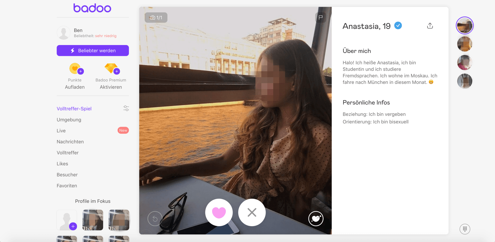 Badoo Profil Frau