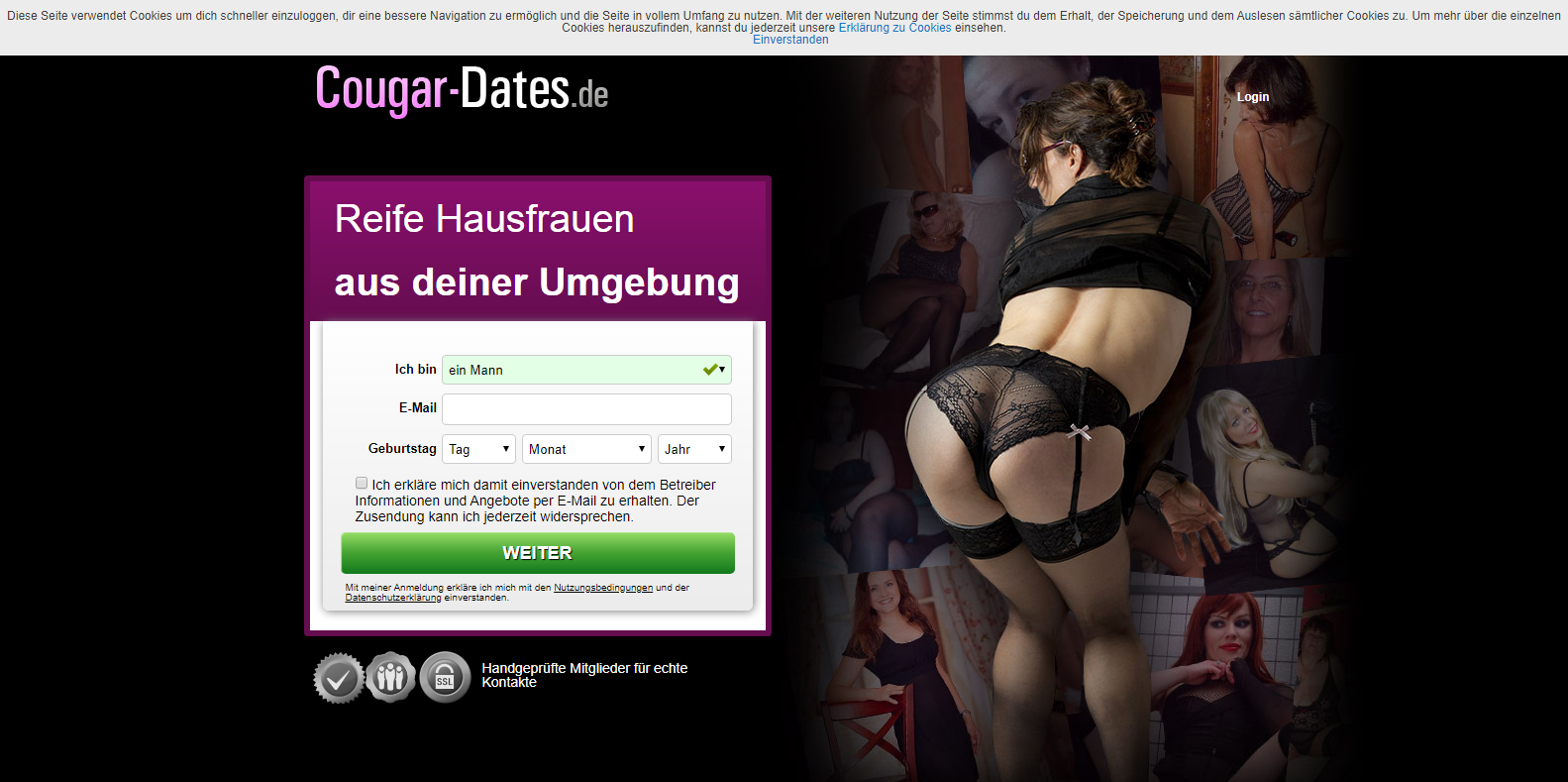 Anmeldung bei Cougar-Dates.de