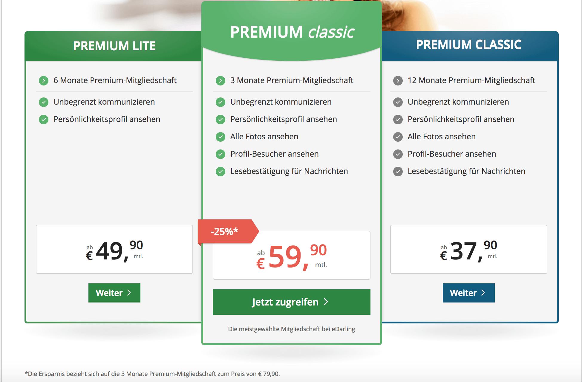 eDarling Preise Premium Mitgliedschaft