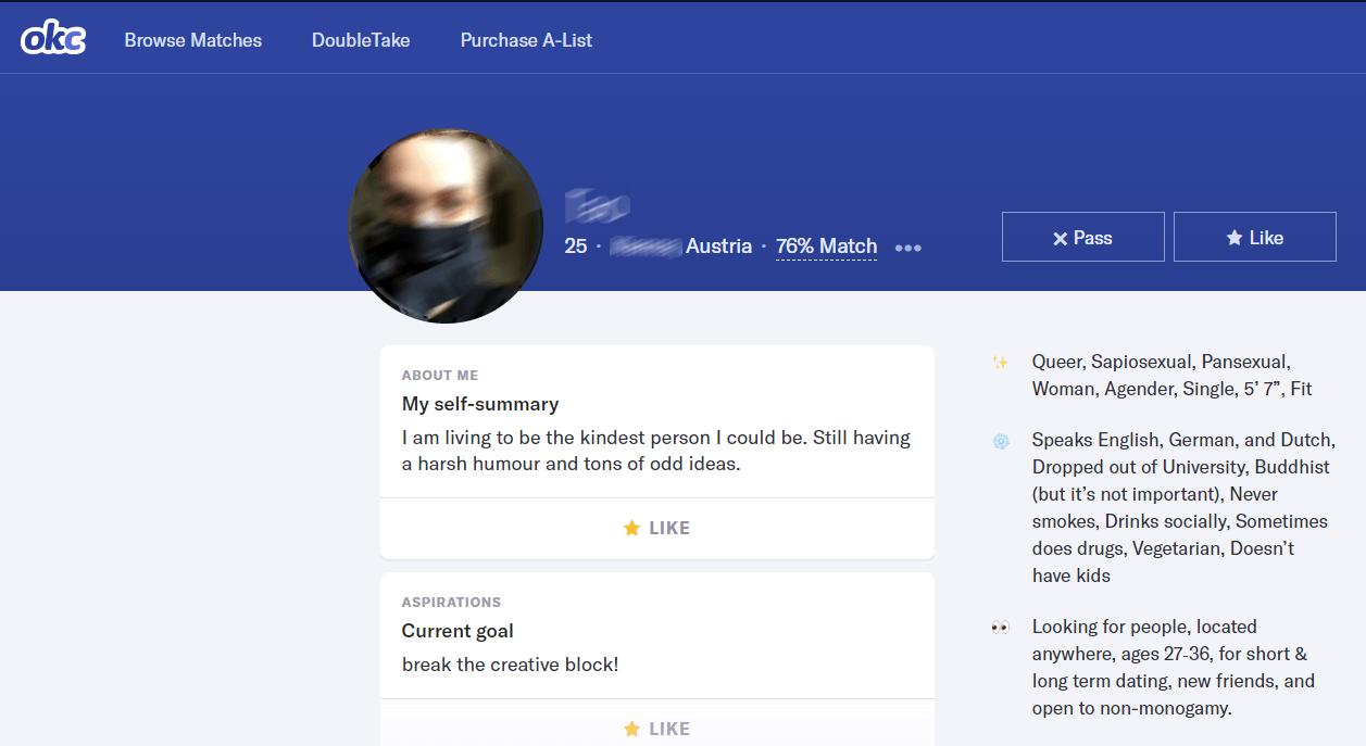 OKcupid Frauen Profil