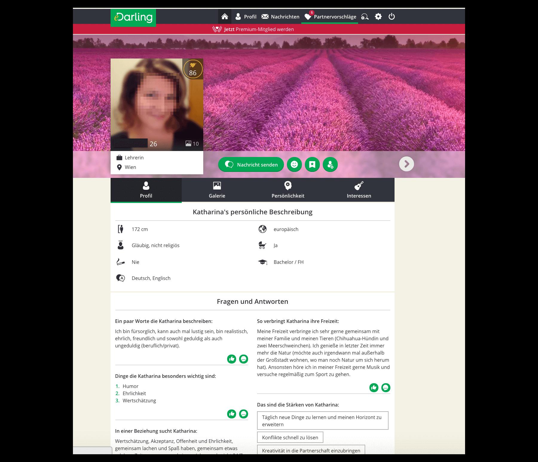 Singlebörse Profil Beispiel