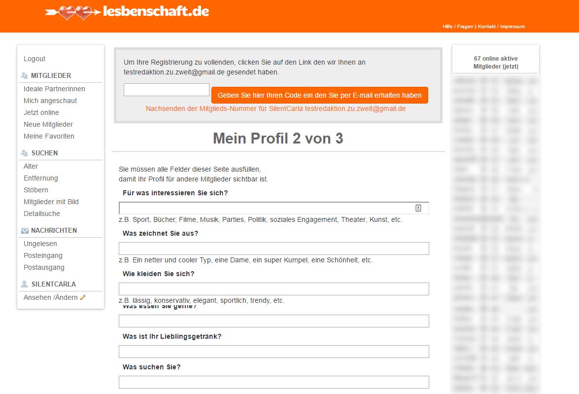 Lesbenschaft.de Profil Fragen
