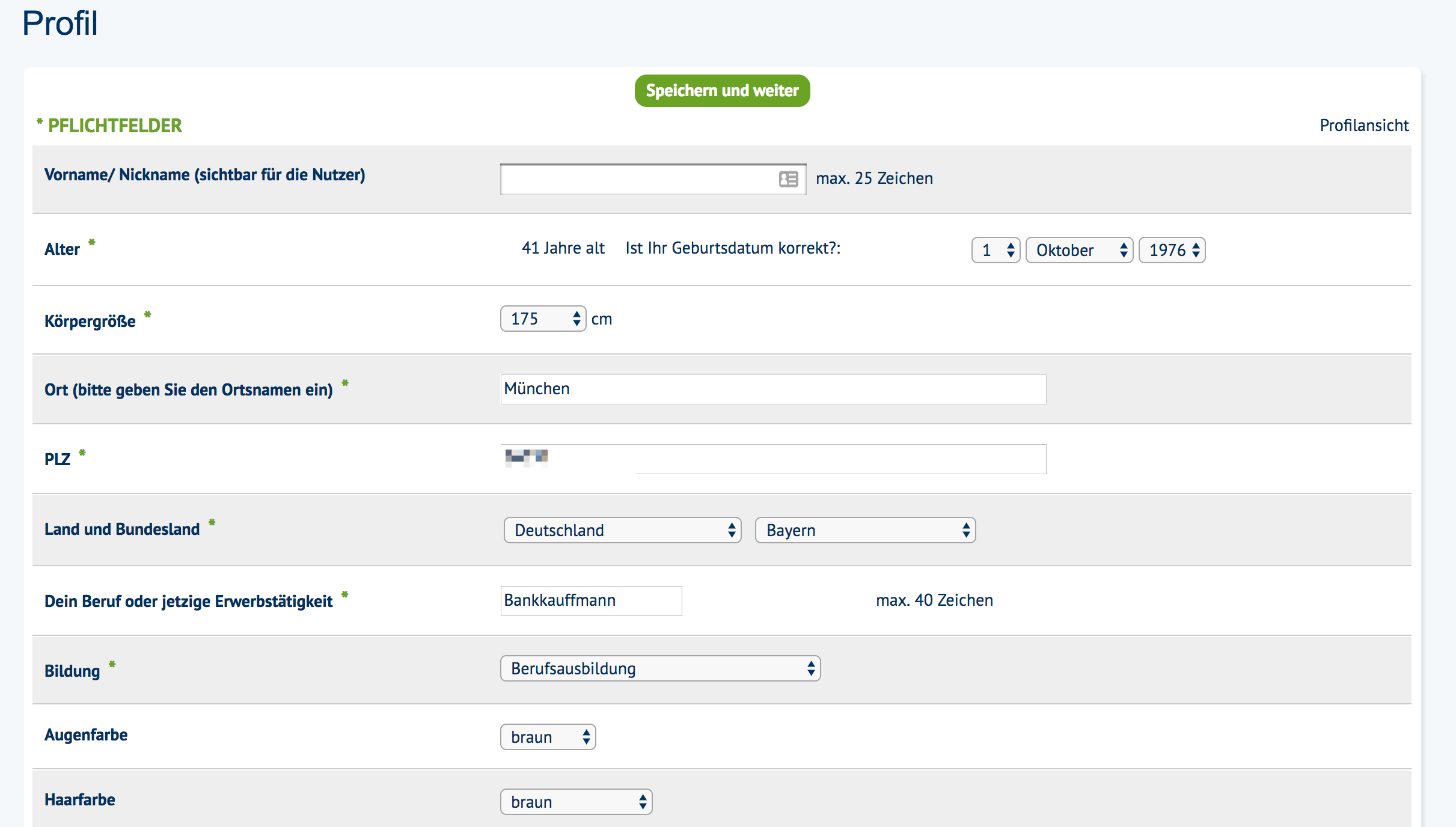 Profilinformationen