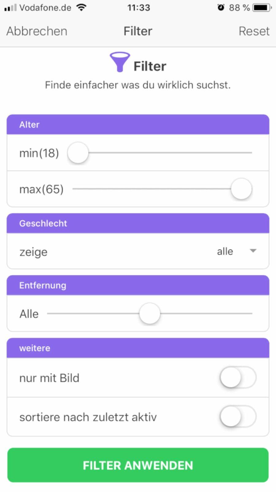 Filteroptionen bei Base Chat