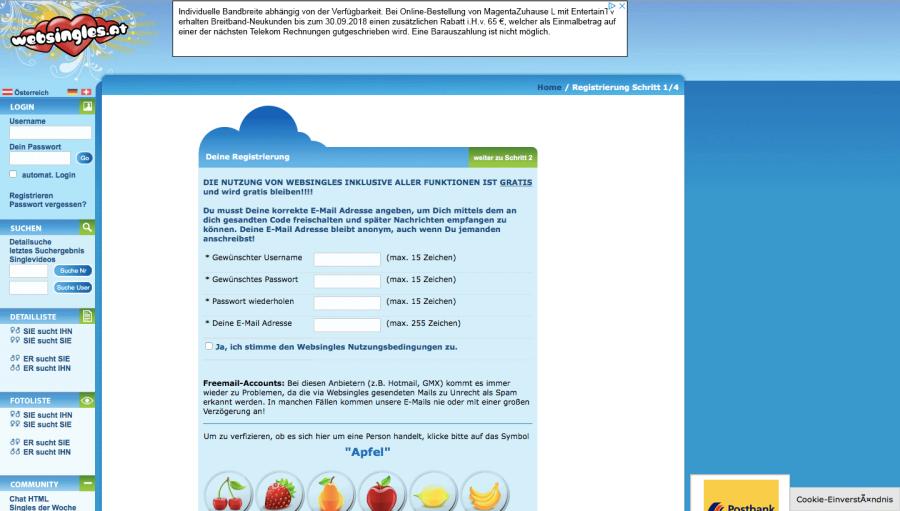 Websingles Anmeldung
