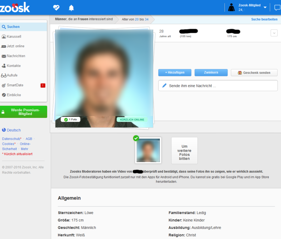 Screenshot Profil auf Zoosk